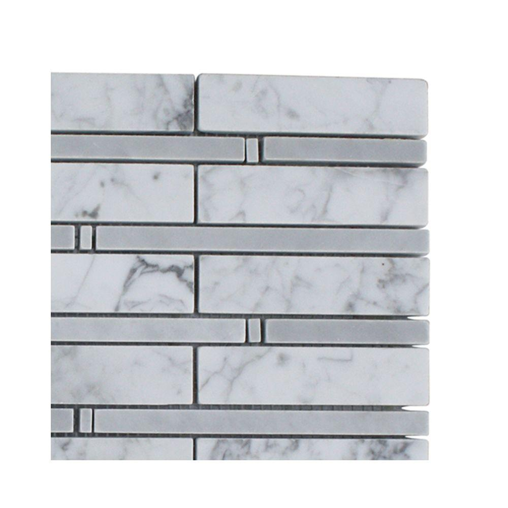 Splashback Tile Elder White Carrera and Light Bardiglio Marble Floor and Wall Tile - 6 in. x 6 in. Tile Sample-DISCONTINUED