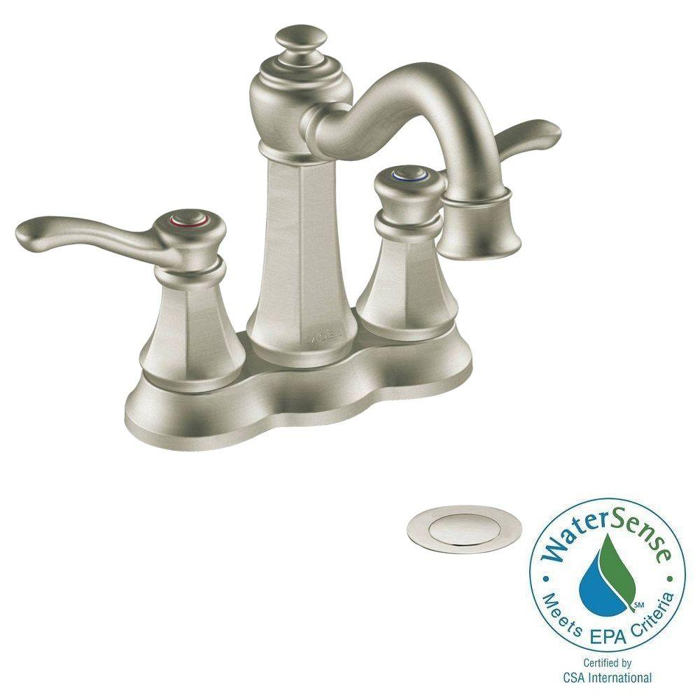 MOEN Vestige 4 in. Centerset 2-Handle High-Arc Bathroom Faucet in Brushed Nickel with Drain Assembly