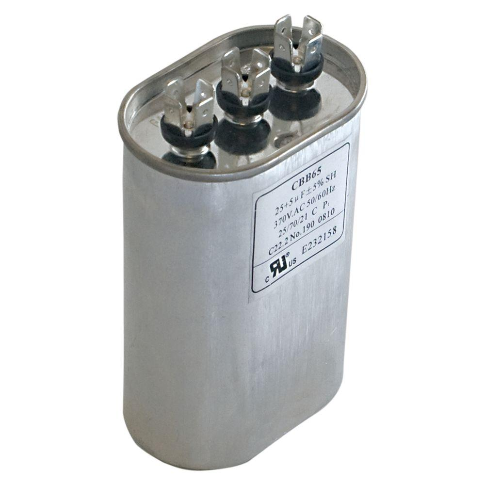 Eastman 40/5 MFD 370 VAC Oval Dual Run Capacitor-92037 - The Home Depot