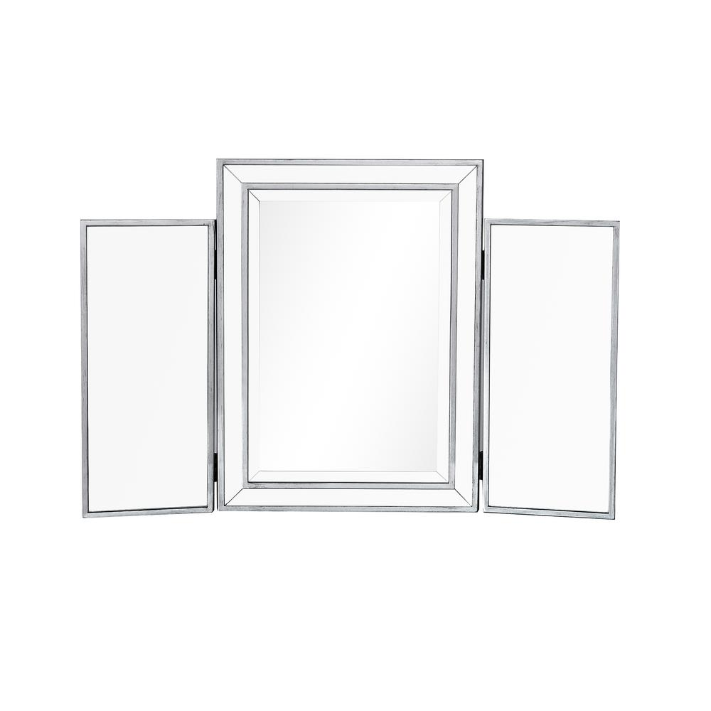 Philip Mirror 36 in. W x 24 in. H with Silver Paint MDF Frame ...