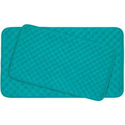 Massage Turquoise Memory Foam 2-Piece Bath Mat Set
