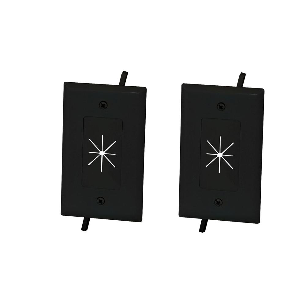 Commercial Electric 1 Gang Flexible Opening Cable Wall Plate Black 2 Pack 5028 Bk 2pk The Home Depot