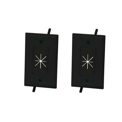 1-Gang Flexible Opening Cable Wall Plate, Black (2-Pack)