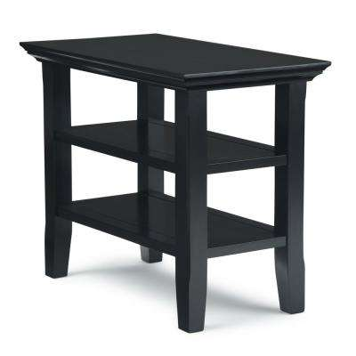 Brunswick Solid Wood 14 inch Wide Rectangle Rustic Narrow Side Table in Black