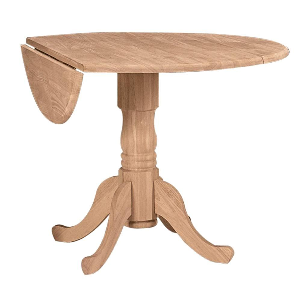 international concepts unfinished round drop leaf dining table t 42dp   the home depot international concepts unfinished round drop leaf dining table t      rh   homedepot com