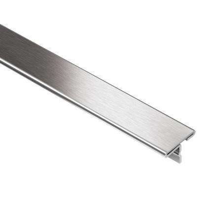 Reno-T Brushed Stainless Steel 1 in. x 8 ft. 2-1/2 in. Metal T-Shaped Tile Edging Trim
