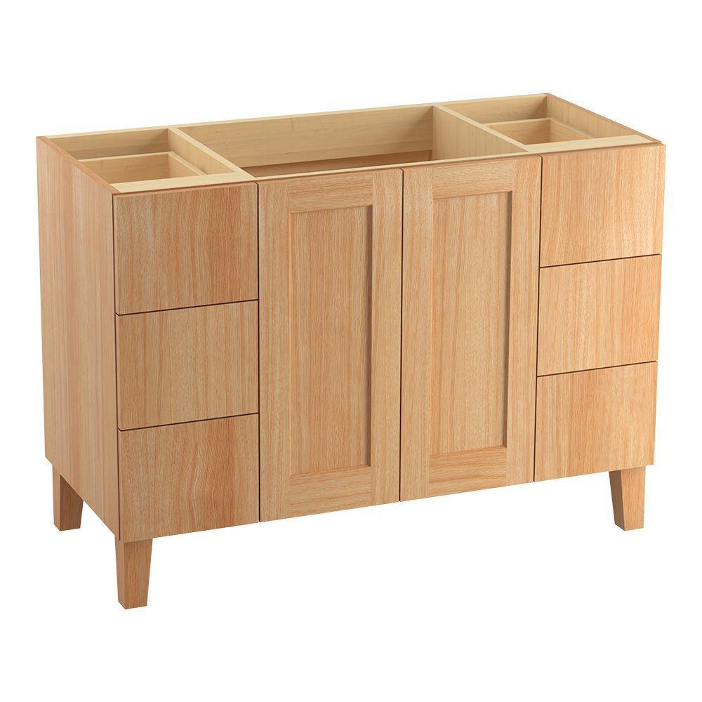 Poplin 48 in. Bath Vanity Cabinet Only in Khaki White Oak