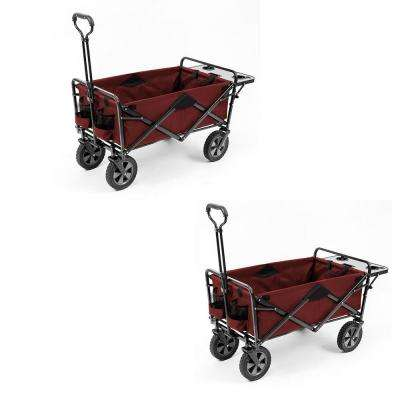 Collapsible Folding Outdoor Garden Utility Wagon Table, Maroon (2-Pack)
