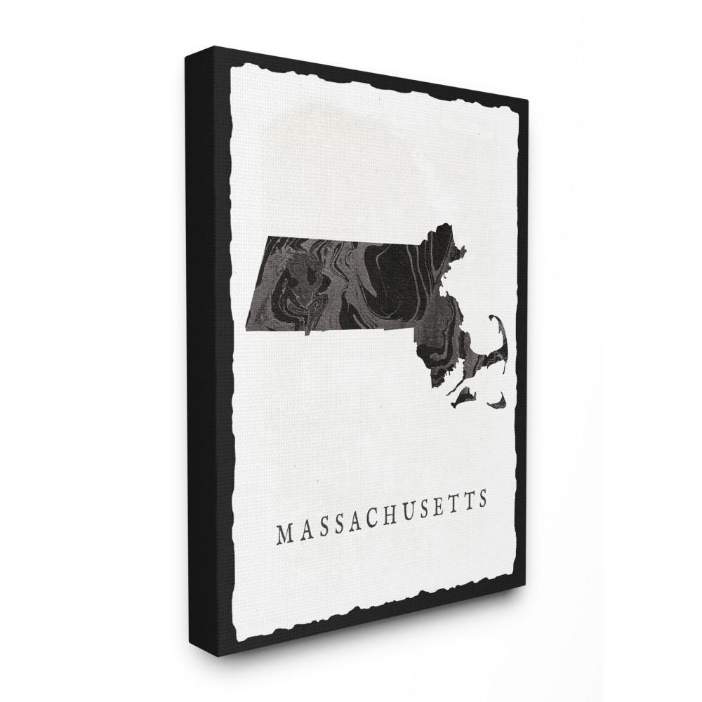 "30 in. x 40 in. ""Black and Grey Marbled Massachusetts State"
