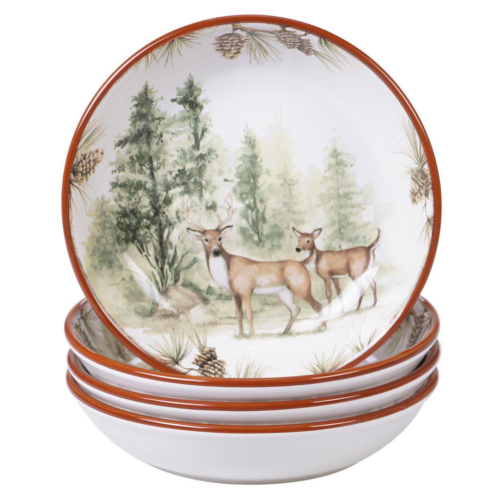 Mountain Retreat 4-Piece Country/Cottage Multi-Colored Ceramic 36 oz. Soup/Pasta Bowl Set (Service for 4)