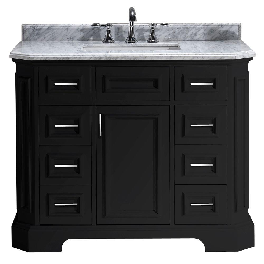 Merveilleux Vanity In Black With Marble Vanity Top In Carrara White