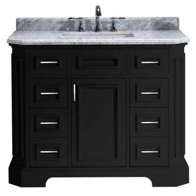 Bristol 42 in. Vanity in Black with Marble Vanity Top in Carrara White