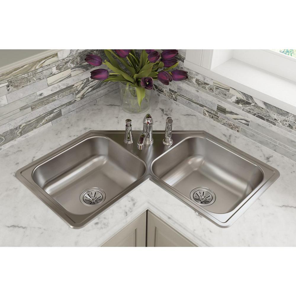 Corner Elkay Drop In Kitchen Sinks Kitchen Sinks The Home Depot