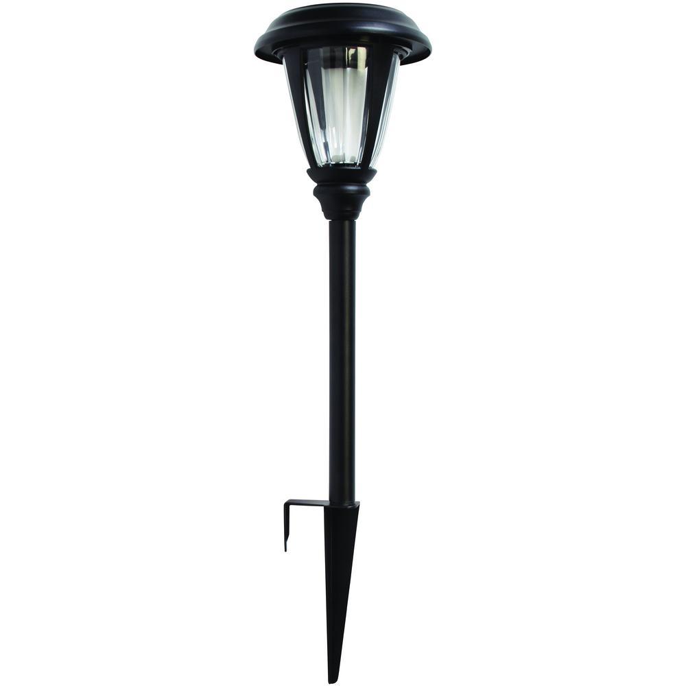 Black Solar LED Glass Pathway Light Set (4-Pack)