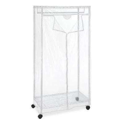 Supreme 36.75 in. x 70.25 in. 2-Tier Steel Frame and Shelves Garment Rack and Stand in White