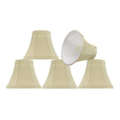 6 in. x 5 in. Butter Creme and Checkered Pattern Bell Lamp Shade (5-Pack)