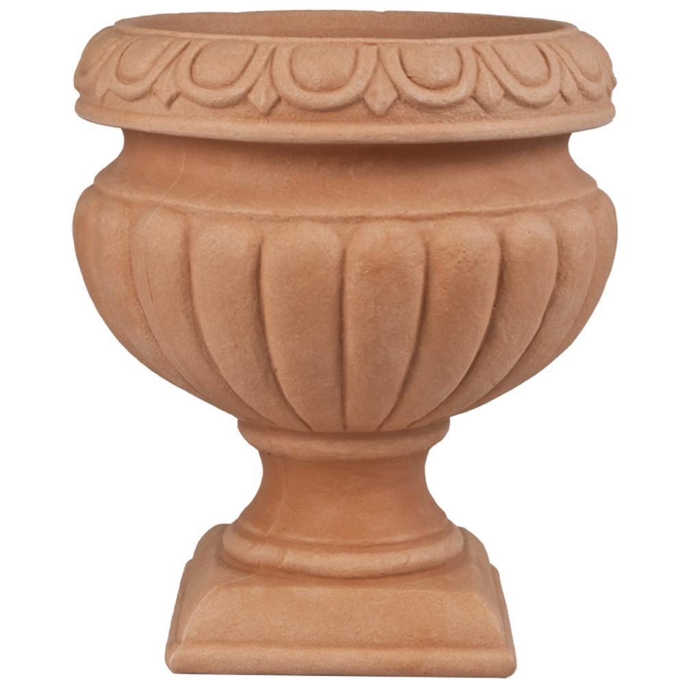 Toscana 16 in. Terra Cotta Plastic Urn Patio Planter