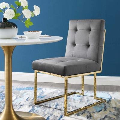Privy Gold Charcoal Gold Stainless Steel Performance Velvet Dining Chair