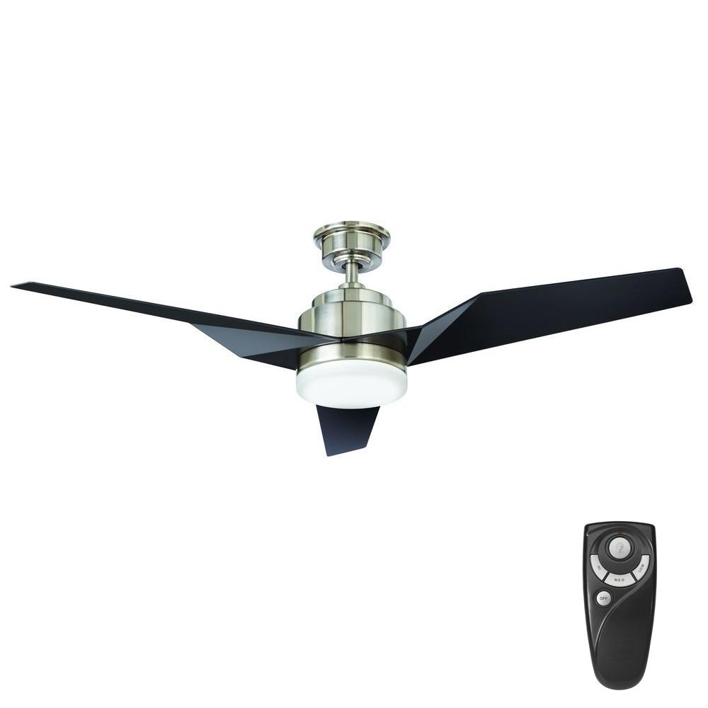 Home Decorators Collection Brioschi 54 In Led Indoor Brushed Nickel Ceiling Fan With Light Kit