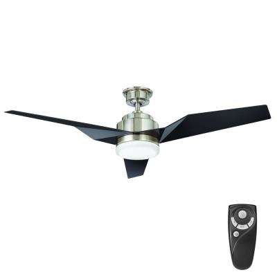 Brioschi 54 in. LED Indoor Brushed Nickel Ceiling Fan with Light Kit and Remote Control