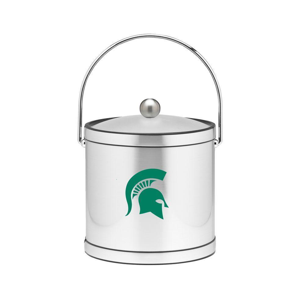 Kraftware Michigan State 3 qt. Brushed Chrome Mylar Ice Bucket