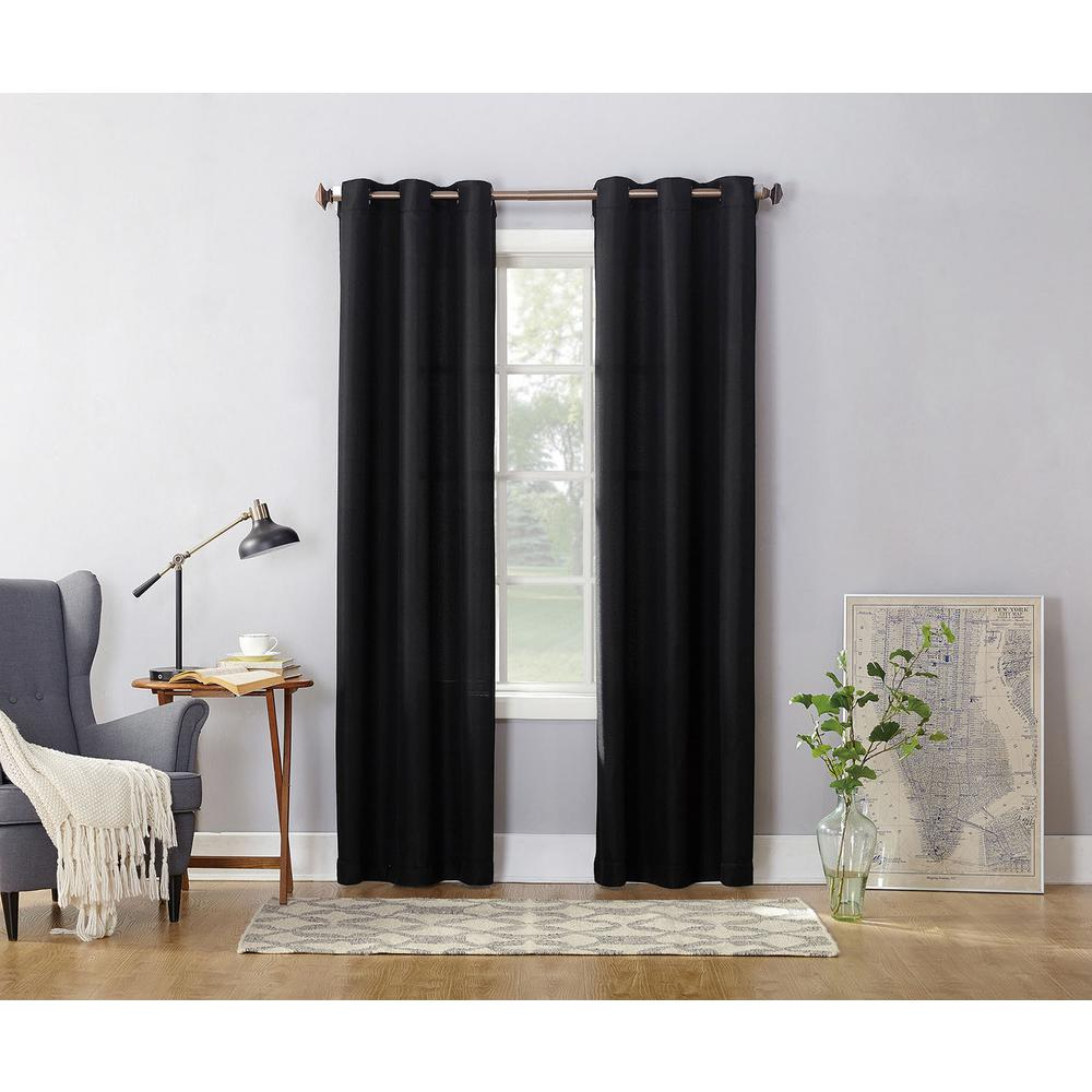 Semi-Opaque Black No. 918 Casual Montego Woven Grommet Top Curtain Panel, 48 in. W x 63 in. L