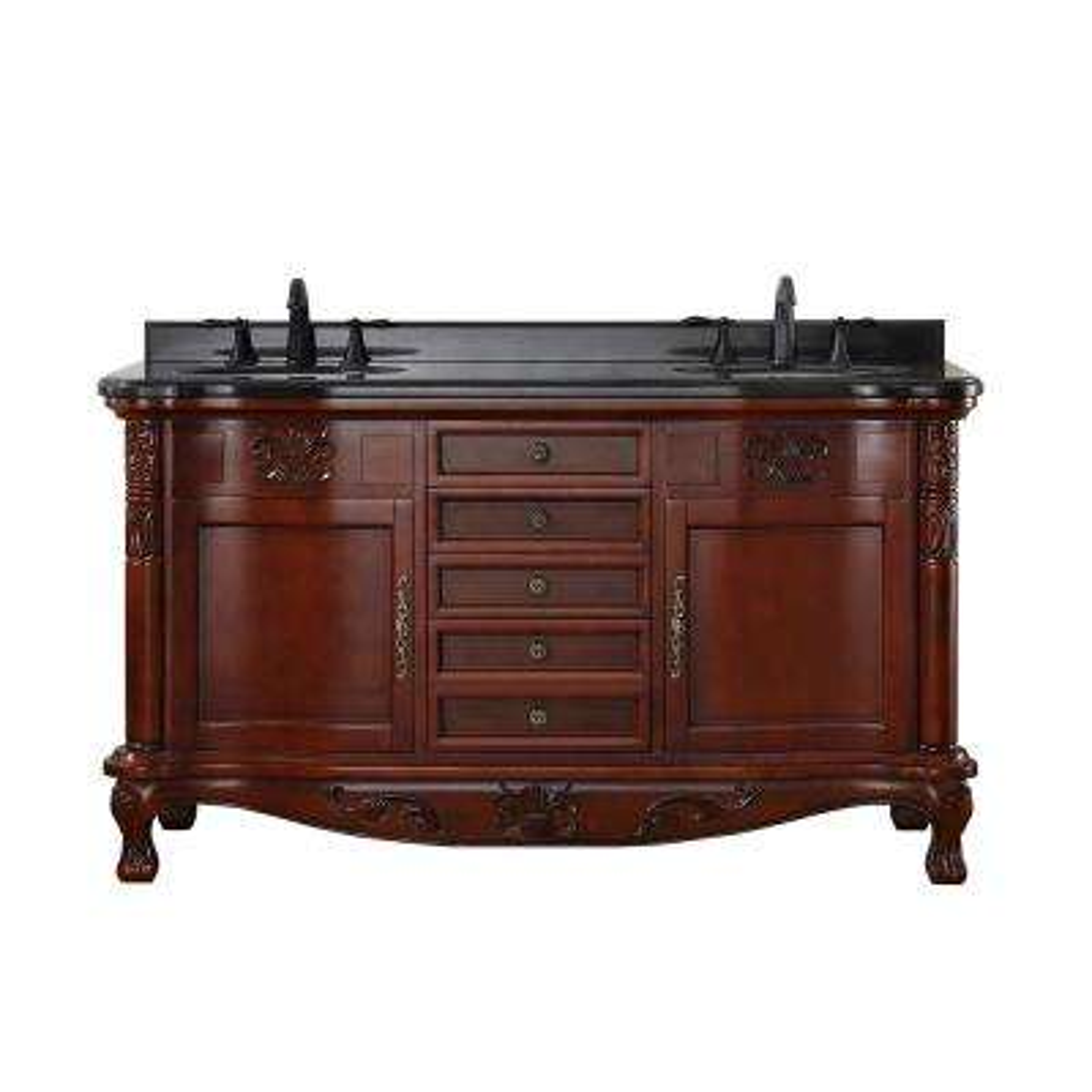 Reidhurst 60 in. W x 22 in. D Bath Vanity in Dark Cherry with Granite Vanity Top in Black with White Basins