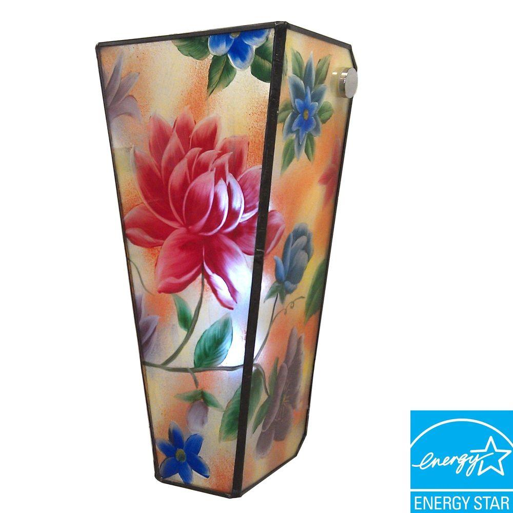 It's Exciting Lighting 5-LED Wall Mount Hand Painted Glass Flowers Conical Glass Battery Operated Sconce