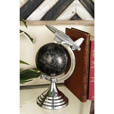 11 in. x 8 in. Vintage Decorative Globe with Propeller Airplane
