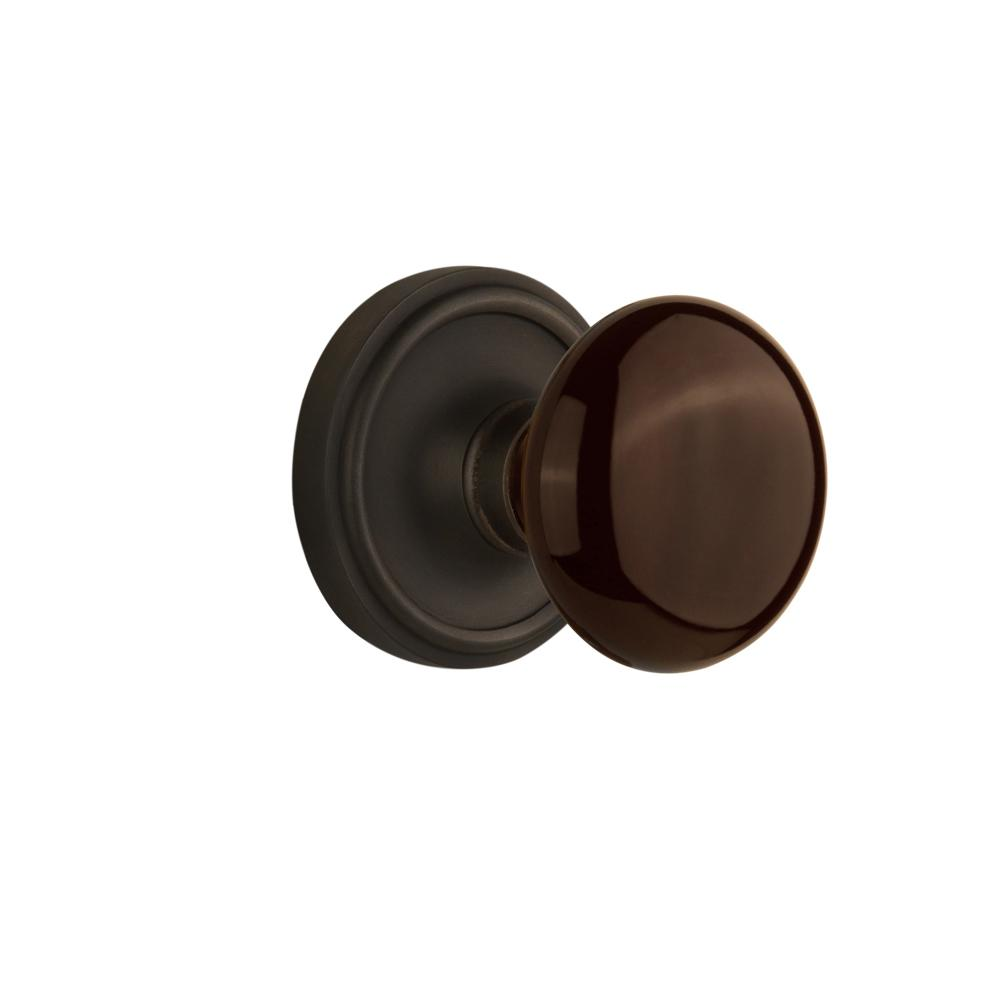 Classic Rosette Interior Mortise Brown Porcelain Door Knob in Oil-Rubbed Bronze