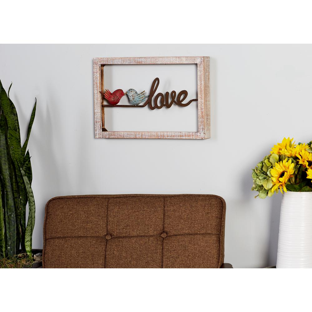 "12 in. x 18 in. ""Home"" and ""Love"" Framed Wooden Wall"