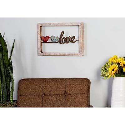 "12 in. x 18 in. ""Home"" and ""Love"" Framed Wooden Wall Art (Set of 2)"