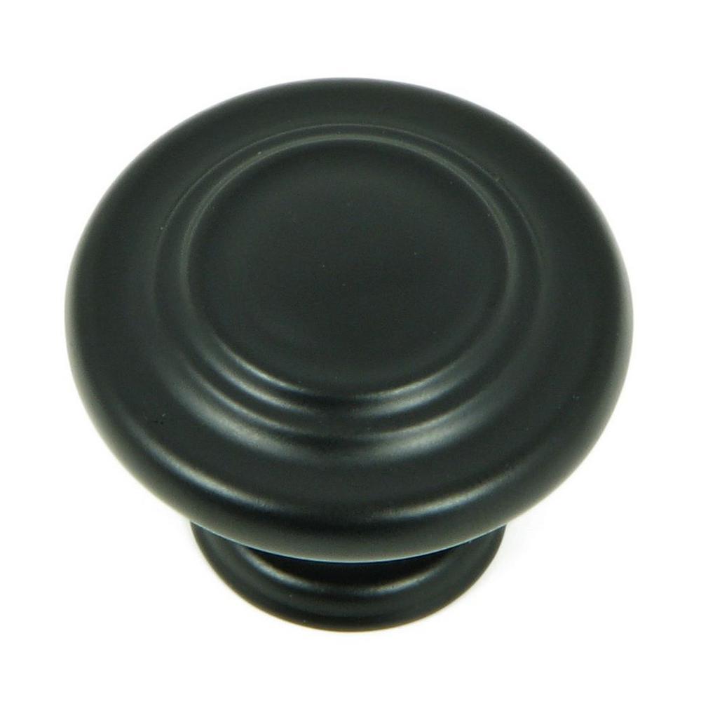 1-1/4 in. Matte Black Three Ring Round Cabinet Knob (10-Pack)