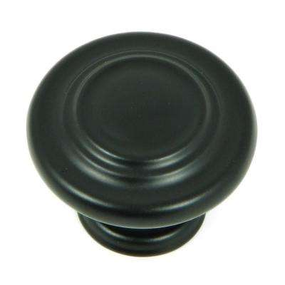 Three-Ring 1-1/4 in. Matte Black Round Cabinet Knob (25-Pack)