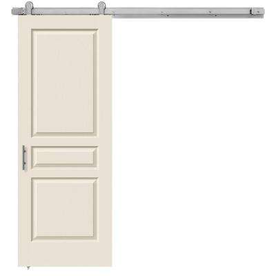 30 in. x 84 in. Avalon Primed Smooth Molded Composite MDF Barn Door with Modern Hardware Kit