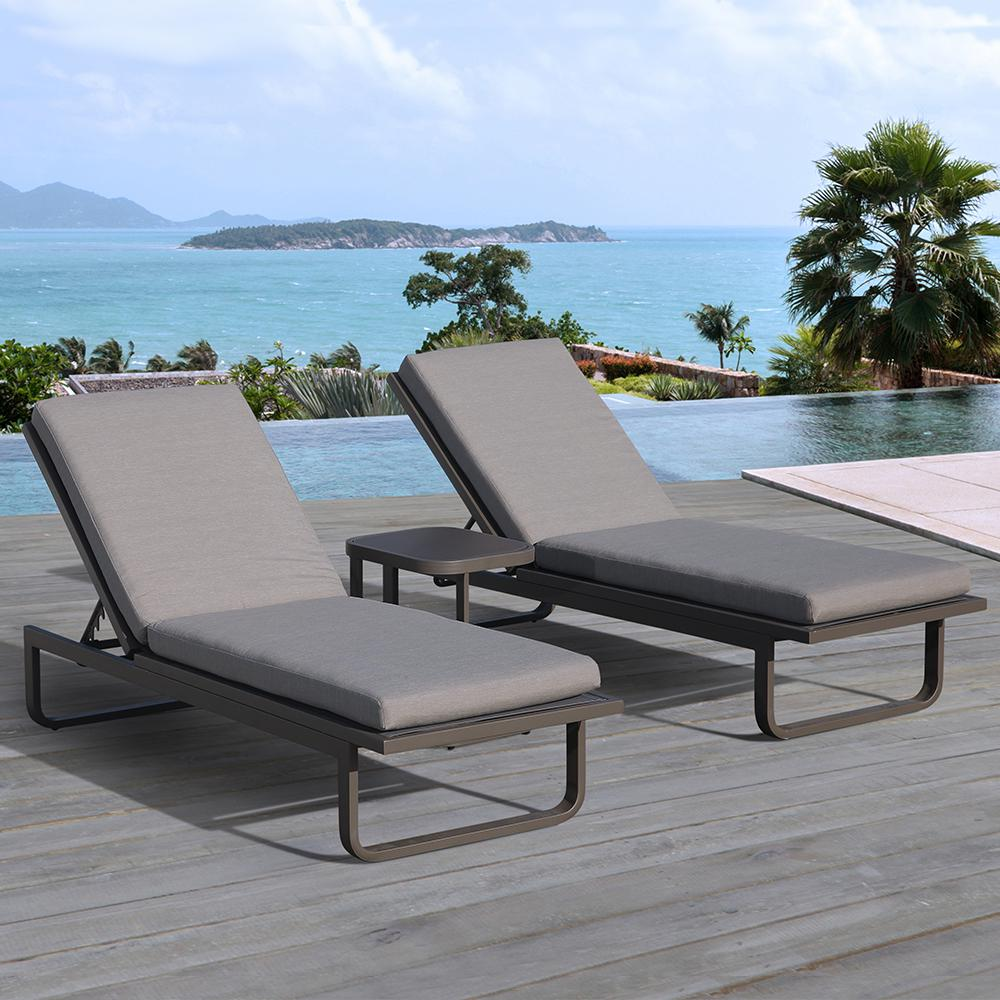 OVE Decors Vienna 2-Piece Aluminum Outdoor Chaise Lounge with Gray Cushions : 2 piece chaise lounge cushions - Sectionals, Sofas & Couches