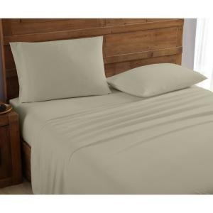 Mhf Home 4-Piece Taupe Solid Queen Sheet Set