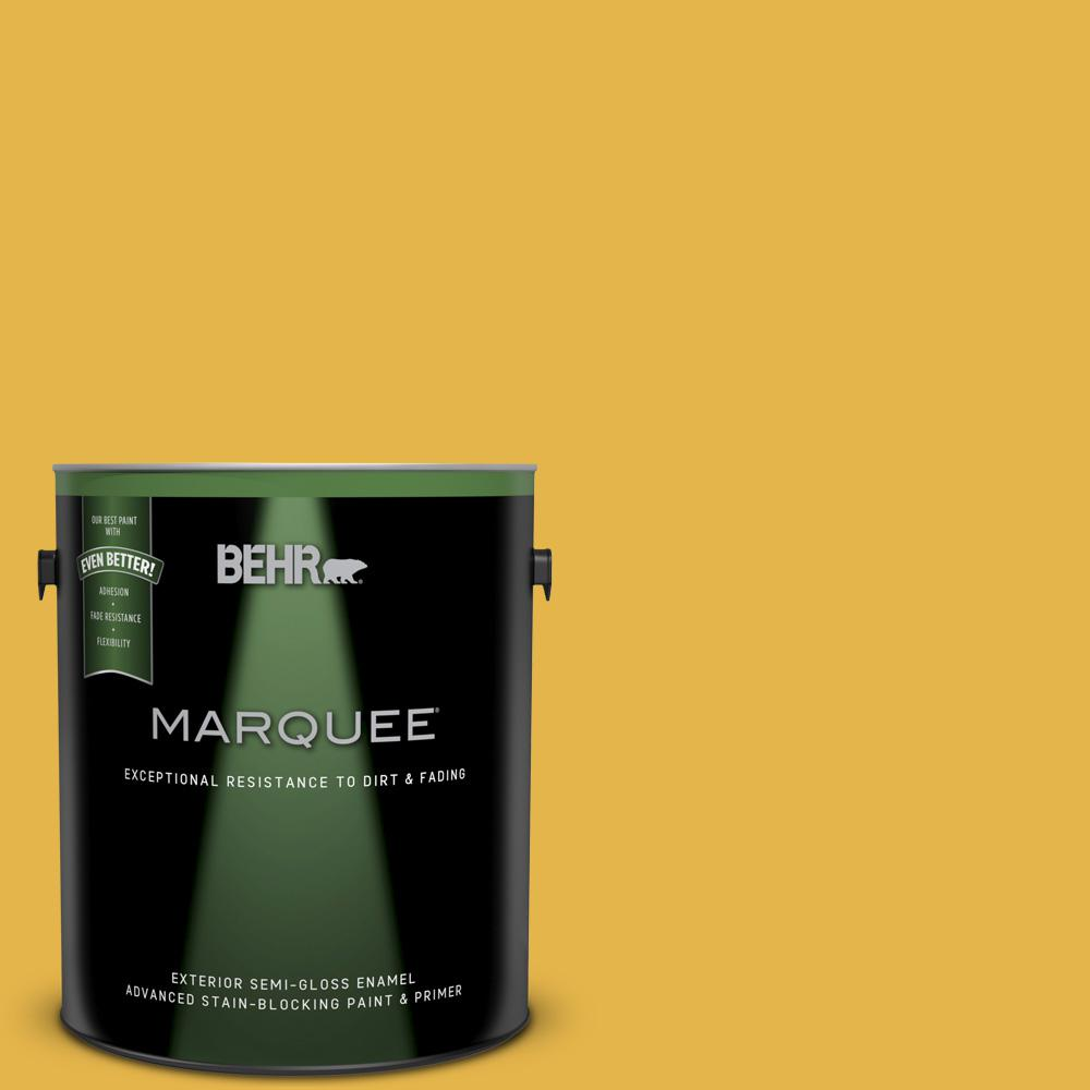 behr marquee 1 gal 360d 6 yellow gold semi gloss enamel exterior paint 545301 the home depot. Black Bedroom Furniture Sets. Home Design Ideas