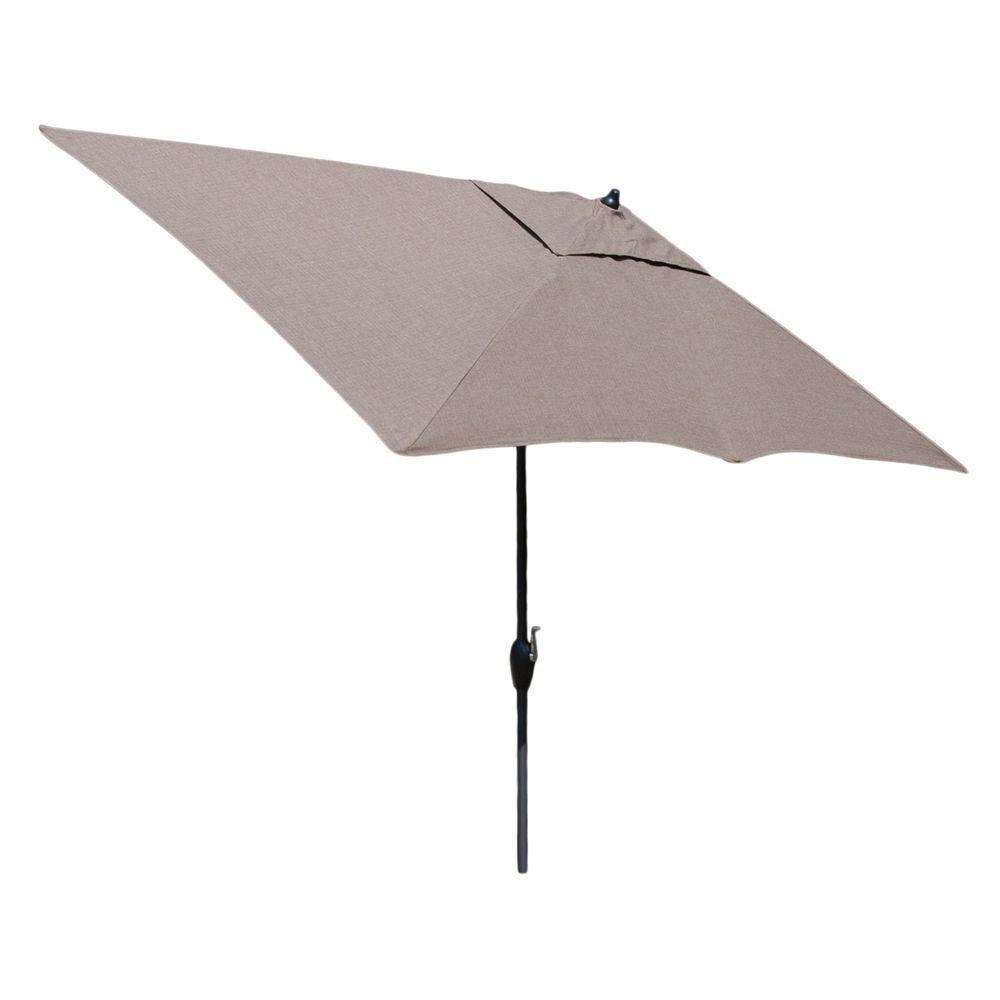 Hampton Bay 10 Ft. X 6 Ft. Aluminum Market Patio Umbrella In Saddle With  Push Button Tilt 9106 01227211   The Home Depot