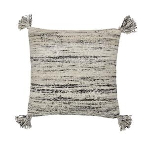 20 in. x 20 in. Gray Woven Striped Pillow Cover