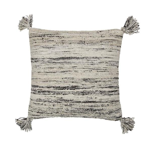 Cstudio Home by The Company Store 20 in. x 20 in. Gray Woven Striped Pillow Cover