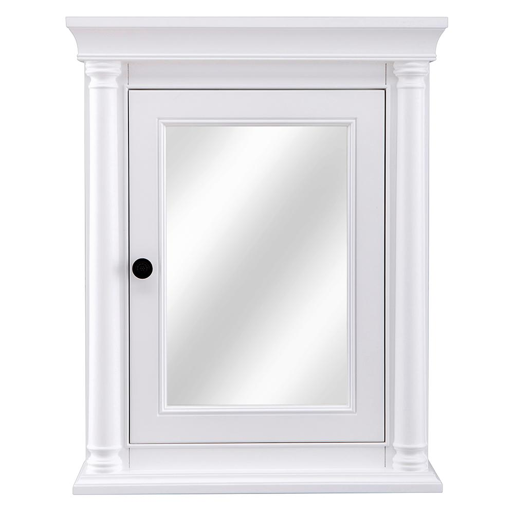Home Decorators Collection Strousse 24 In W X 30 H Surface Mount Mirrored Medicine Cabinet White