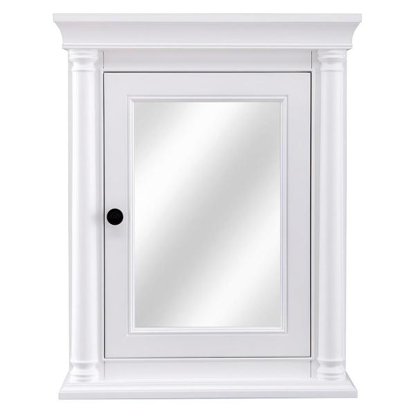 Home Decorators Collection Strousse 24 In W X 30 In H Surface Mount Mirrored Medicine Cabinet In White Srwc2430 The Home Depot