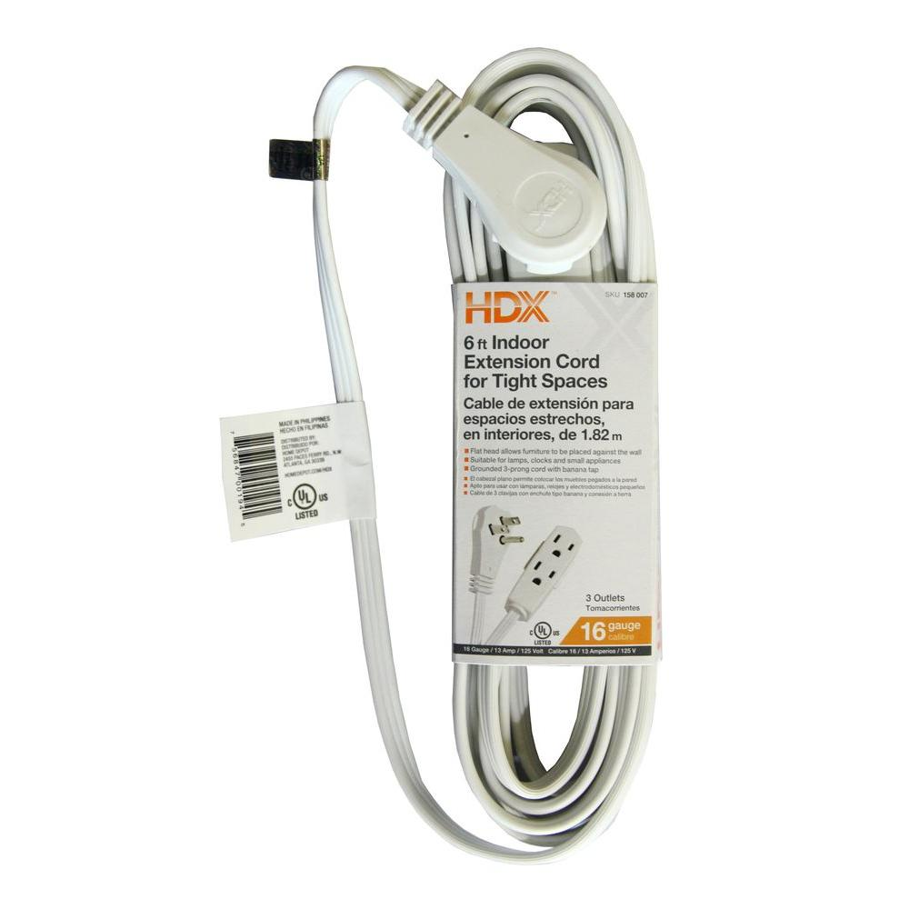 Hdx 6 Ft 16 3 Indoor Tight Space Cube Tap Extension Cord White Hd Wire Diagram