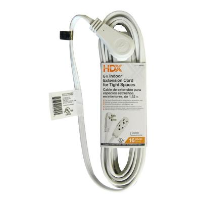 6 ft. 16/3 Indoor Tight Space Cube Tap Extension Cord, White
