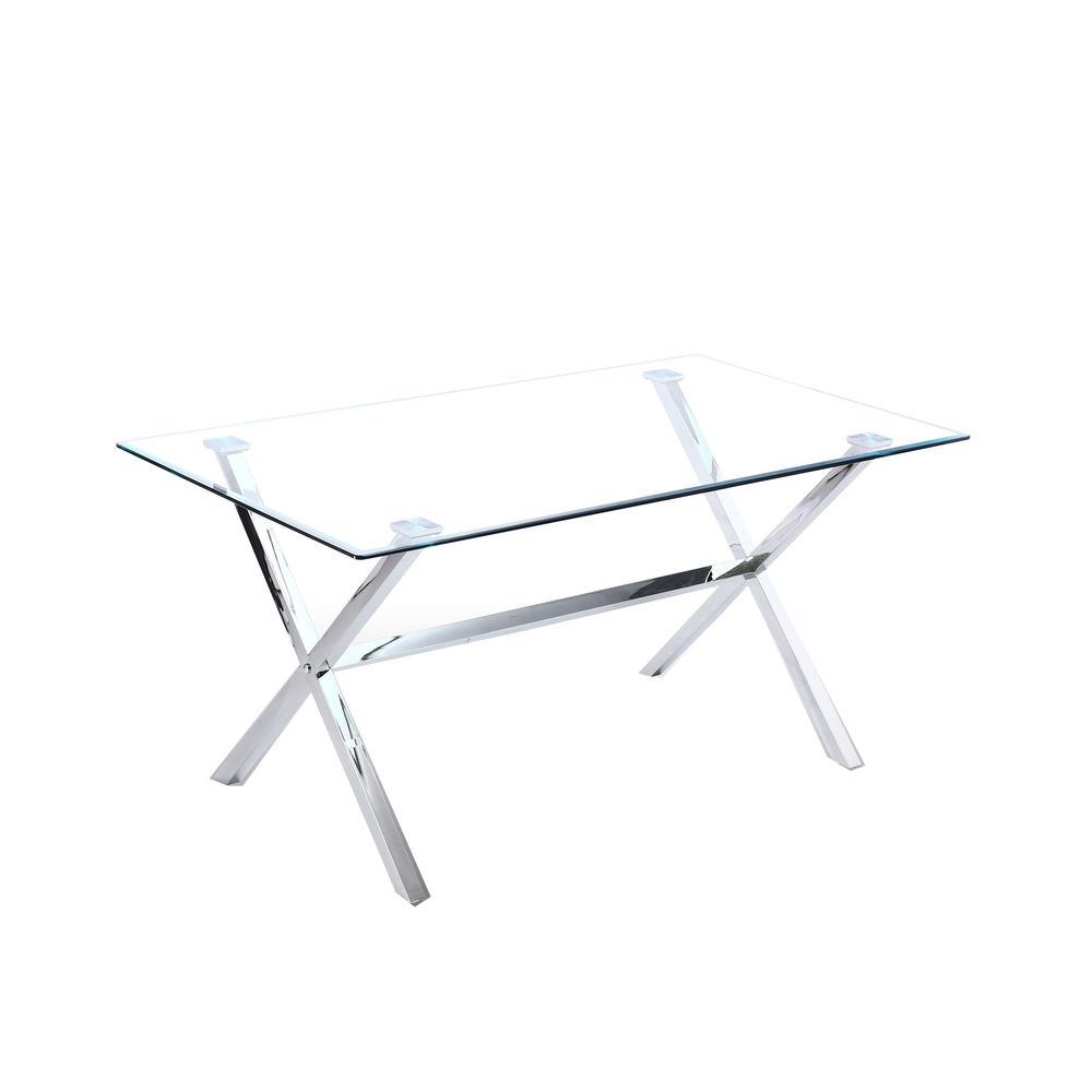 Elfa 63 in. Silver Glass Modern Rectangular Dining Table