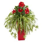 Indoor Hibiscus and Spider Artificial Plant in Red Planter