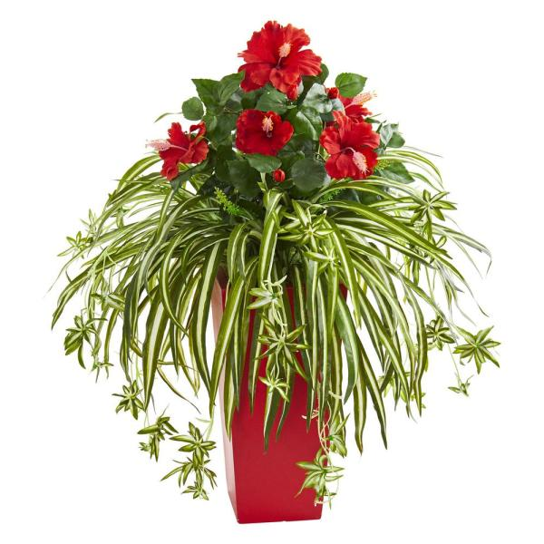 Nearly Natural Indoor Hibiscus and Spider Artificial Plant in Red Planter