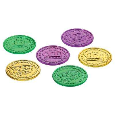 1.375 in. Mardi Gras Green, Purple and Gold Plastic Coins (100-Count, 3-Pack)