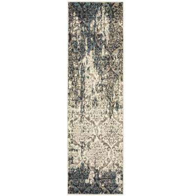 Matrix Stone/Silver Blue 2 ft. x 7 ft. Indoor Runner Rug